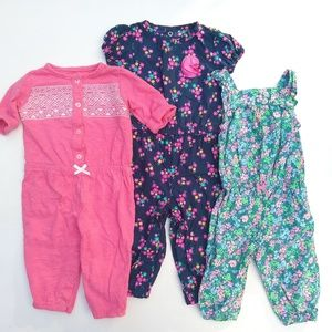 Carter's • baby girl 6 mo romper jumpsuits lot